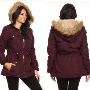 Jackets & Blazers - Burgundy statement faux fur parka coat jacket